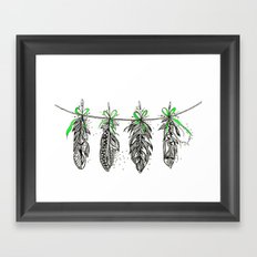 Feather Bunting. Green Ribbon Framed Art Print