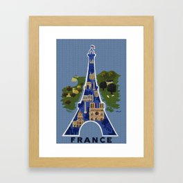 Vintage France Eiffel Tower Travel Poster Framed Art Print