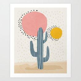 Cacti Desert, Mid century modern kids wall art, Nursery room Art Print