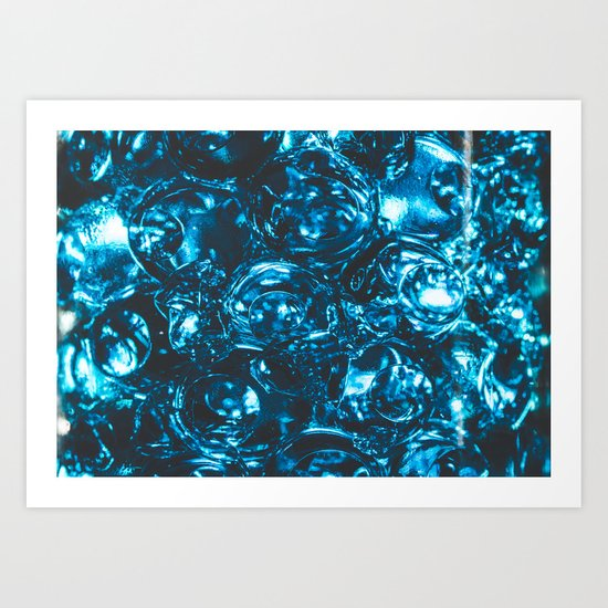 Sparkly blue water marbles Art Print