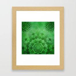 Emerald Green Lotus Mandala Framed Art Print