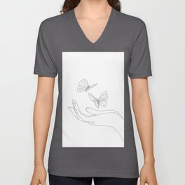 Butterflies on the Palm of the Hand Unisex V-Ausschnitt