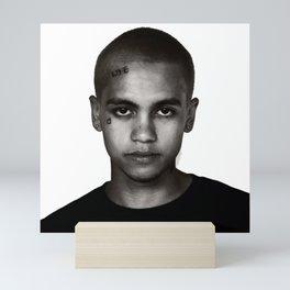 """Dominic Fike - Black and White Tri-blend"" Mini Art Print"
