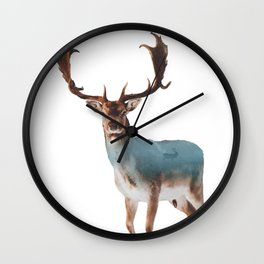 Deer Double Exposure Wall Clock
