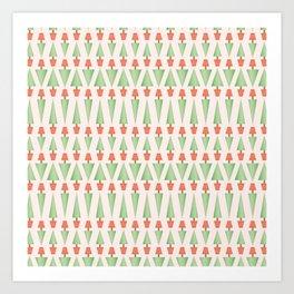 Seamless vector pattern of triangular topiary trees in terra cotta pots Art Print
