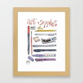 Art supplies watercolor illustration Framed Art Print