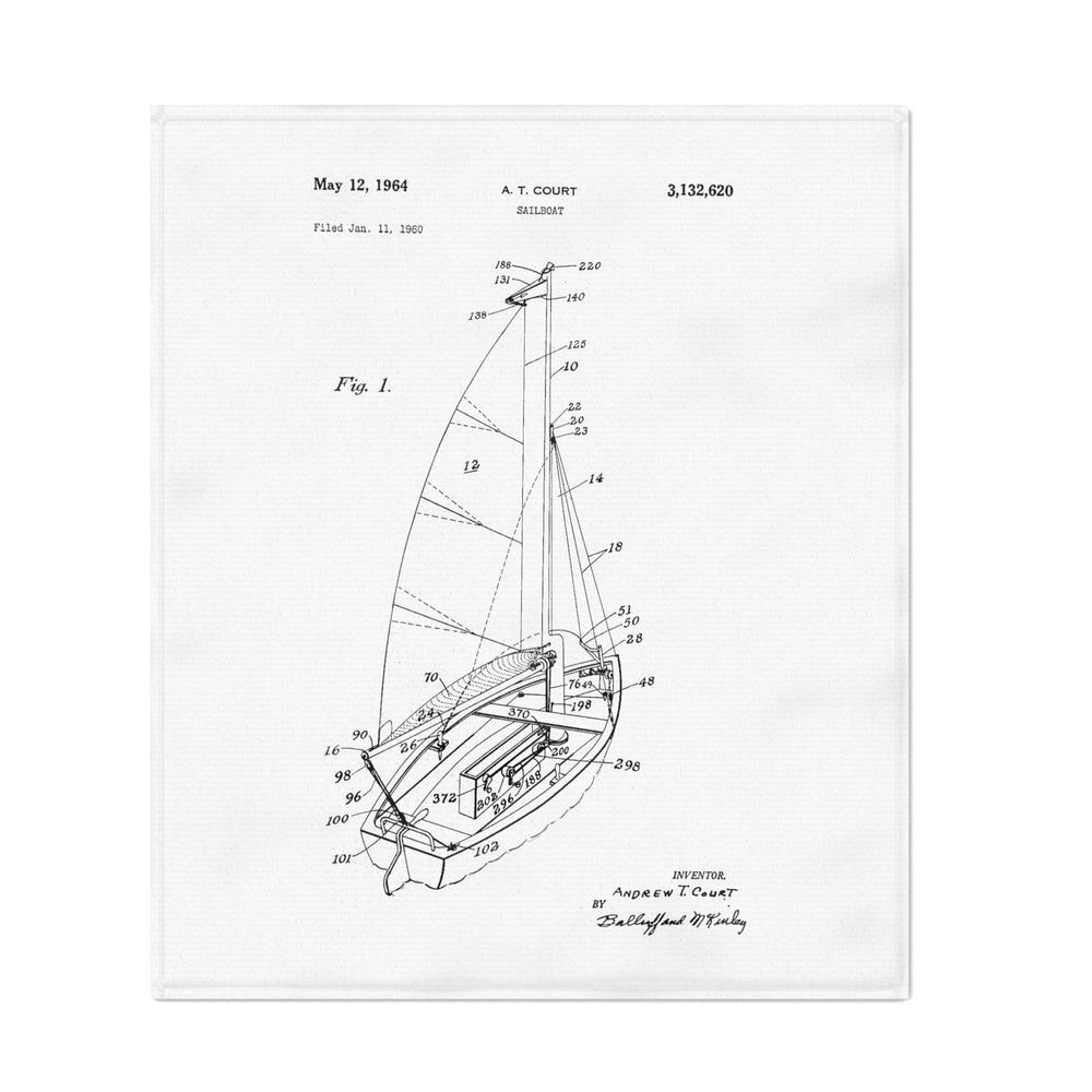 Patent_Art_Court_Sailboat_1964_Throw_Blanket_by_greatartgallery