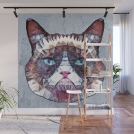abstract grouchy cat Wall Mural