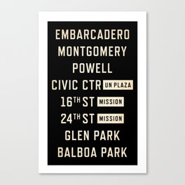 San Francisco Vintage Subway Train Sign Canvas Print