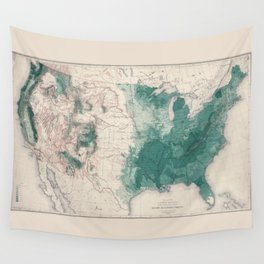 1883 USA Map of Density of Forests Wall Tapestry