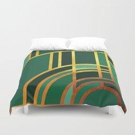 Art Deco Morning Sun In Emerald Duvet Cover