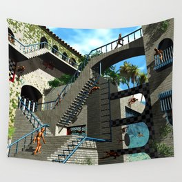 Optical Illusion - Tribute to Escher Wall Tapestry