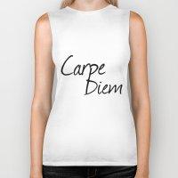 carpe diem Biker Tanks featuring Carpe Diem  by Xchange Art Studio