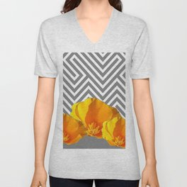 ABSTRACT CONTEMPORARY YELLOW POPPIES PATTERNS Unisex V-Neck