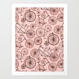 Monochroem Vintage Biycles On Coral Pink Art Print