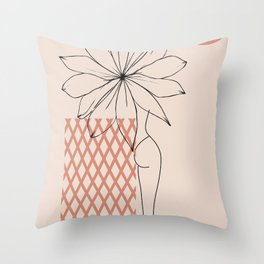 female body legs figure abstract minimal modern one line art sketch Throw Pillow