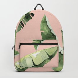 Banana Leaves 2 Green And Pink Backpack