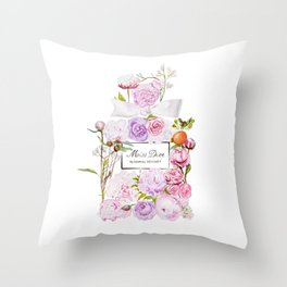 Parfum Perfume Fashion Floral Flowers Blooming Bouquet Throw Pillow