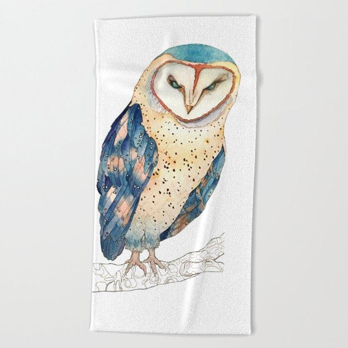 The colourful barn owl Beach Towel