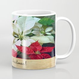 Mixed color Poinsettias 1 Merry Christmas S2F1 Coffee Mug