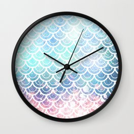 Mermaid Scales Turquoise Pink Sunset Wall Clock