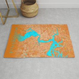 Jacksonville, FL, USA, Gold, Blue, City, Map Rug