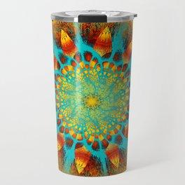 Mandala Flower Green Yellow Art Travel Mug