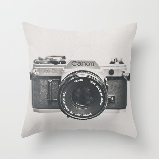 Vintage Camera Phone Throw Pillow