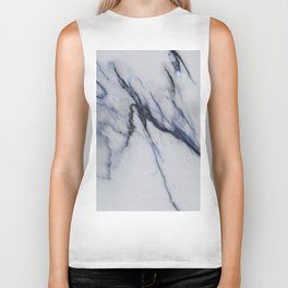 White Marble with Black and Blue Veins Biker Tank