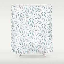 Ombre Aqua Silver Foil Feathers Shower Curtain