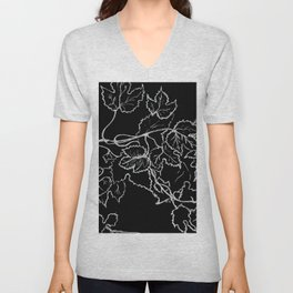 White ink, graphic, black cardboard, nature drawing maple leaves Unisex V-Neck