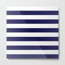 Trendy Navy Stripe Metal Print