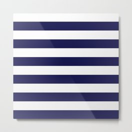 Trendy Navy Stripe Metal Print