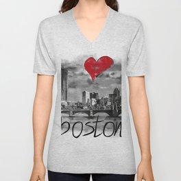 I love Boston Unisex V-Neck