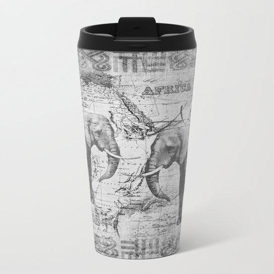 African Spirit Vintage Elephant black white Metal Travel Mug