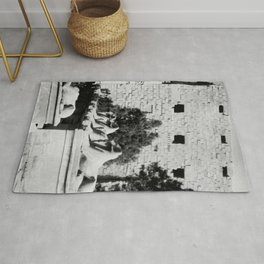 Row of Stone Lions in Egypt Rug
