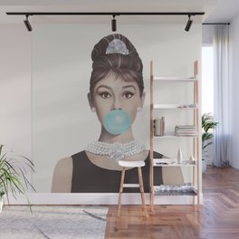 AUDREY BLOWING BLUE BUBBLEGUM Wall Mural