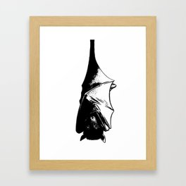 Drawing of Hanging Flying Fox Bat Framed Art Print