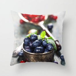 blueberries and red currant berries Throw Pillow