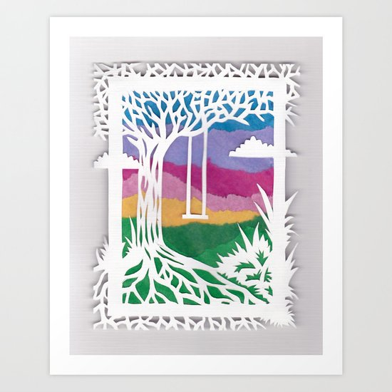 Sunset Swing Papercut Art Print
