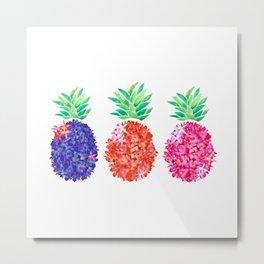 Floral Pineapples Metal Print