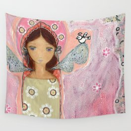 Angel with Little Bird by Flor Larios Wall Tapestry