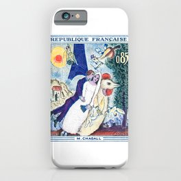 1963 FRANCE The Bride and Groom At The Eiffel Tower Stamp iPhone Case