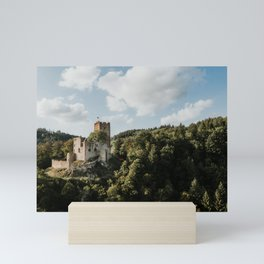 Castle on the hill   Drone   Colourful Travel Photography   Waldkirch, Germany (Europe) Mini Art Print