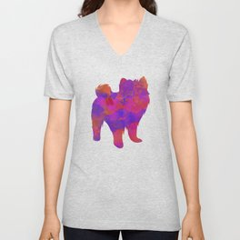 Dog Abstract  Watercolor Unisex V-Neck