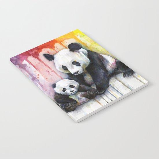 Pandas and Rainbow Watercolor Mom and Baby Panda Nursery Animals Notebook