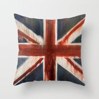 union jack Throw Pillows featuring Union Jack by breezy baldwin