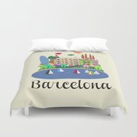 barcelona Duvet Covers featuring Barcelona  by uzualsunday