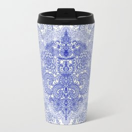 Happy Place Doodle in Cornflower Blue, White & Grey Travel Mug