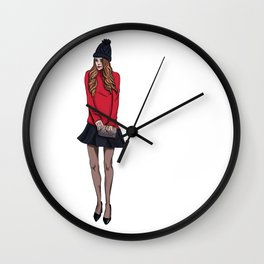 Shy girl Wall Clock